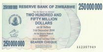 Zimbabwe 250 Million de $ de $, Elephant, waterfall - 2008
