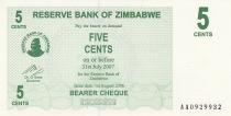 Zimbabwe 5 Cents - Chiremba - Vert - Valeur faciale - 2006