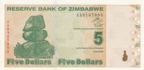 Zimbabwe 5 Dollars - Chiremba - Green and brown - Fish and dam - 2009