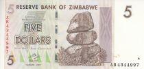 Zimbabwe 5 Dollars - Chiremba - Marron et vert - Barrage et éléphant - 2007 (2008)