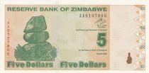 Zimbabwe 5 Dollars - Chiremba - Vert  et marron - Poisson et barrage - 2009
