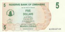 Zimbabwe 5 Dollars - Chiremba - Vert et marron - Torche - 2006