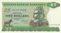 Zimbabwe 5 Dollars 1983 - Chiremba, zèbre, scène de village