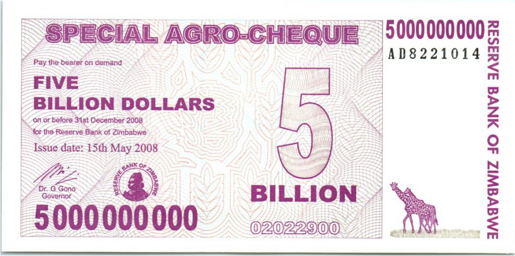 P-61 5,000,000,000 5 billion 2008 UNC Zimbabwe