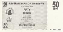 Zimbabwe 50 Cents - Chiremba - Noir - Valeur faciale - 2006