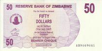 Zimbabwe 50 Dollars - Chiremba - Violet - Cascade - 2006