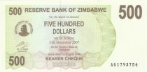 Zimbabwe 500 Dollar Barrage, poisson tigre - 2006