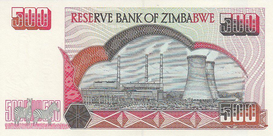 Zimbabwe 500 Dollars - Chiremba - Central électrique de Hwange - 2001