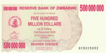 Zimbabwe 500 Million de $ de $, Poisson, barrage - 2008