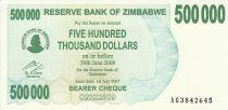 Zimbabwe 500000 Dollars - Chiremba - Bleu et vert - Éléphants - 2007
