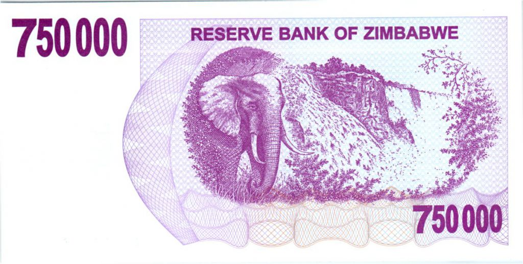 Zimbabwe 750000 Dollar Elephant and waterfalls