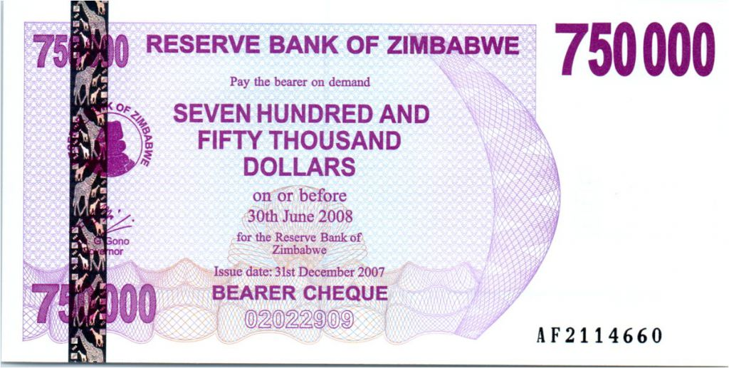 Zimbabwe 750000 Dollar Eléphant et cascades