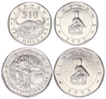 Zimbabwe Lot 2 pièces  - 10 et 25 $ 2003