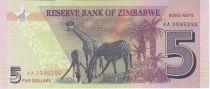 Zimbabwe Zimbabwe 5 Dollars Rochers - Girafes 2016